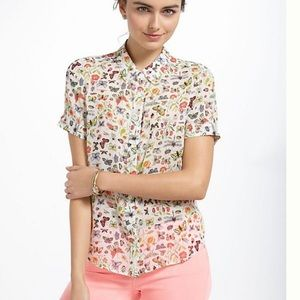 RARE Anthropologie entomologist insect silk blouse